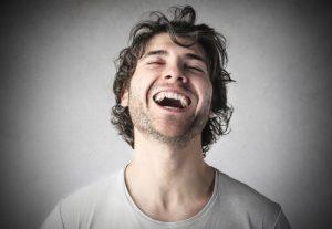 man laughing slick